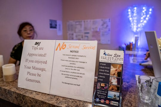 Olive Spa, which replaced the raided Lulu Spa on 7441 Collins Avenue, shows off their policies regarding sexual contact in their business in Miami.