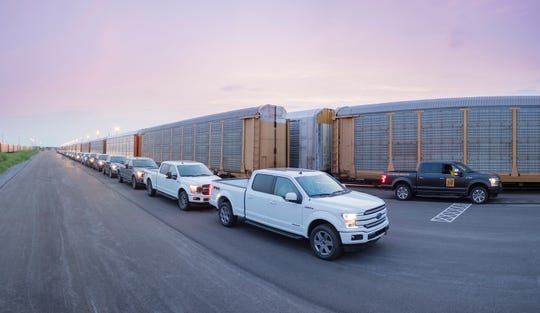 Ford lined up 42 F-150s before the demonstration.