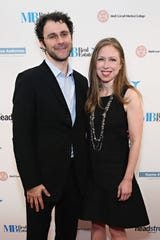 Chelsea Clinton and husband Marc Mezvinsky, photographed in 2015, are now parents of three.