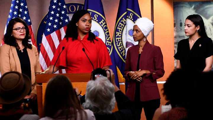Reps. Ayanna Pressley, D-Mass., speaks as, Ilhan Omar, D-Minn., Rashida Tlaib, D-Mich., and Alexandria Ocasio-Cortez, D-N.Y., look on during a press conference, to address remarks made by President Donald Trump earlier in the day, at the US Capitol in Washington, July 15, 2019.