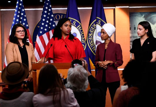"President Donald Trump has feuded frequently with the self-described ""Squad,"" from left, Reps. Rashida Tlaib, D-Mich.; Ayanna Pressley, D-Mass.; Ilhan Omar, D-Minn.; and  Alexandria Ocasio-Cortez, D-N.Y."