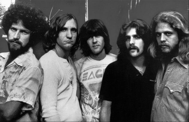 The Eagles, shown in a 1977 file photo, were one of the most popular and influential rock bands of the 1970s. From left are, Don Henley, Joe Walsh, Randy Meisner, Glenn Frey and Don Felder.