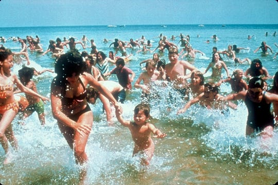 "Swimmers flee the carnage in ""Jaws."""