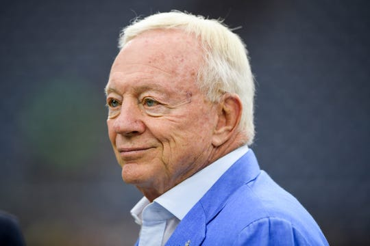 Dallas Cowboys owner Jerry Jones on the field before the game against the Houston Texans at NRG Stadium.