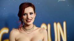 """Bella Thorne poses at the premiere of """"Midnight Sun"""" on March 15, 2018, in Los Angeles."""