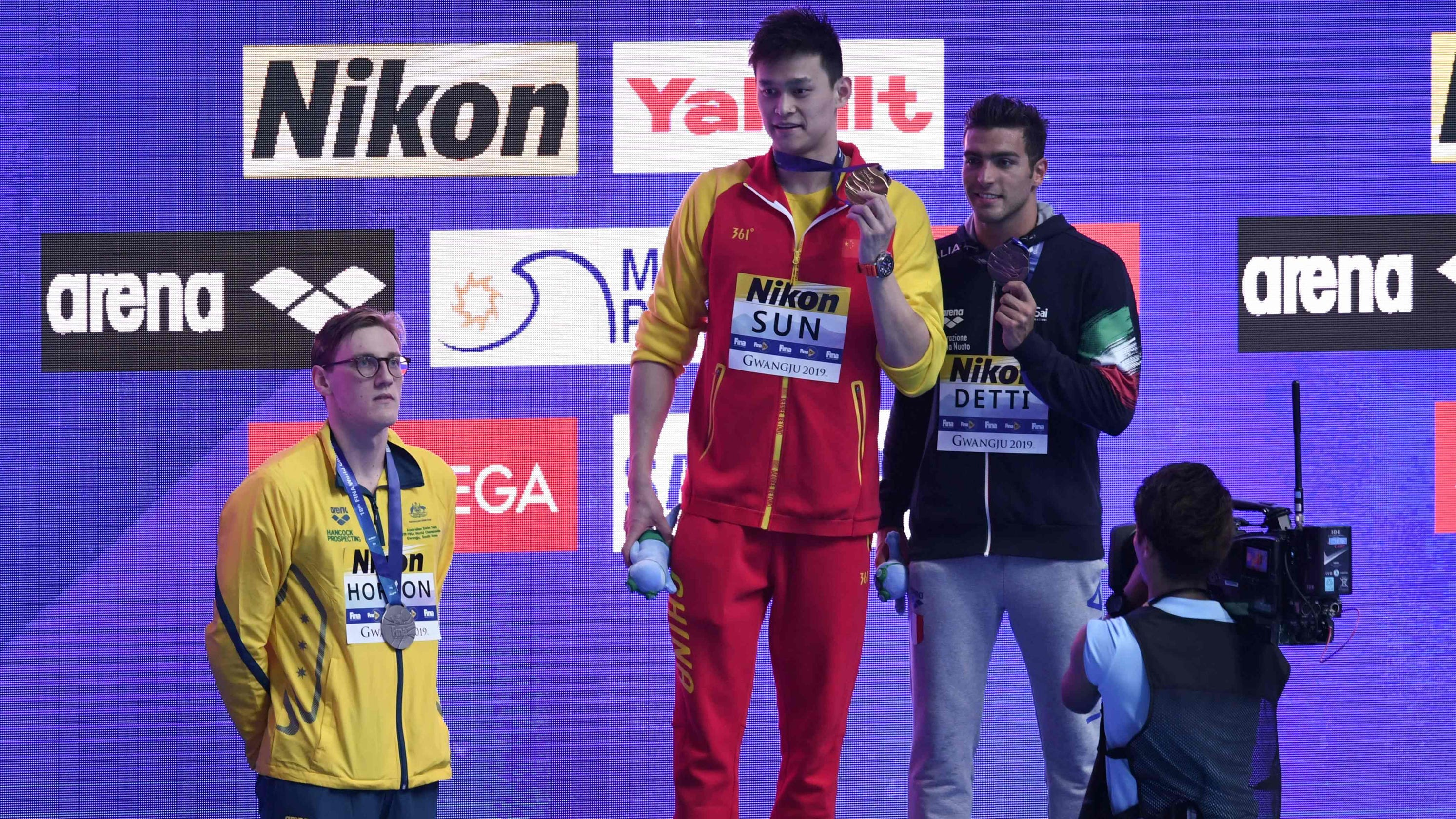 Australian swimmer Mack Horton refuses to share podium with Chinese rival he called 'drug cheat'