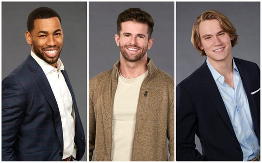 "(L-R): ""Bachelorette"" contestants Mike Johnson, Jed Wyatt and John Paul Jones."