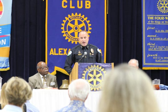 Jerrod King reflected Tuesday on his first year as chief of the Alexandria Police Department, talking to Rotary Club of Alexandria members about crime rates, helping his own officers and how the department is embracing technology to fight crime.