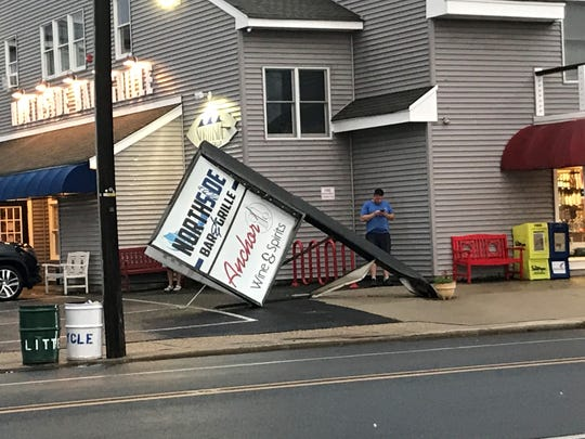 The Northside Bar and Grill in Surf City sign came down from the storm after severe wind blew through parts of Long Beach Island.