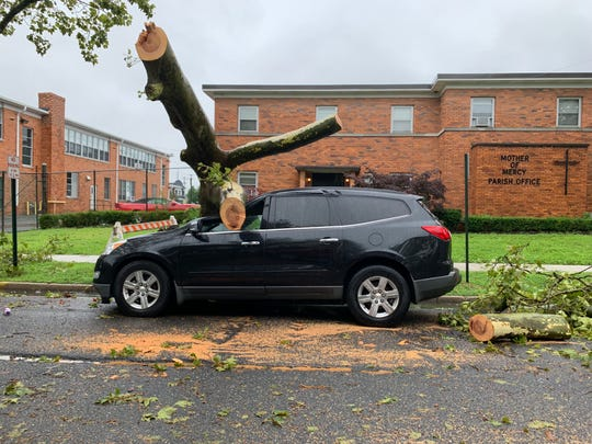 A tree damaged a car in Asbury Park during Monday's storms.