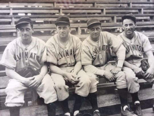 "This undated photo shows the Fleser brothers: (L-R) Calvin, Ivan, Harry and Roger. Ivan Fleser played at Western Michigan University and was on the famed ""Cloudbuster"" Navy baseball team alongside Ted Williams."