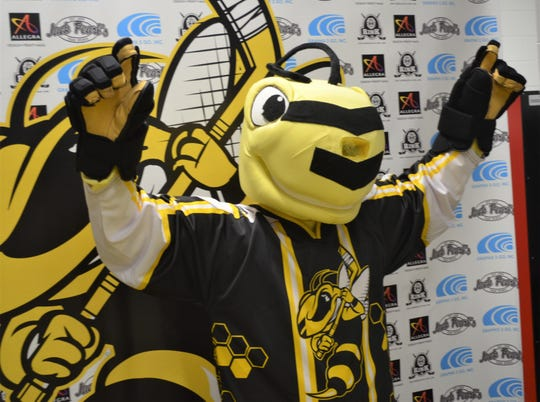 The mascot of the newest professional hockey franchise in town the Battle Creek Rumble Bees makes an appearance as a press conference at The Rink on Tuesday.