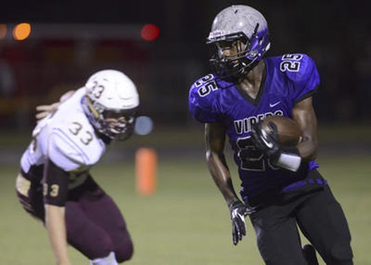 Deundrell Turpin attended Space Coast High School where he played football. He's pictured running back a pass interception during a 2016 game against St. Cloud