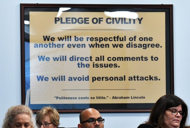 An existing sign that has long been on display in the commission chambers. The July 23 meeting of the Brevard County Board of Commissioners in Viera, with two of the big issues being a proposed Civility Ordinance and Policy, which was not brought to a vote, and a Resolution for Finding of Critical Needs, Law Enforcement Municipal Service Taxing Unit, which was approved.