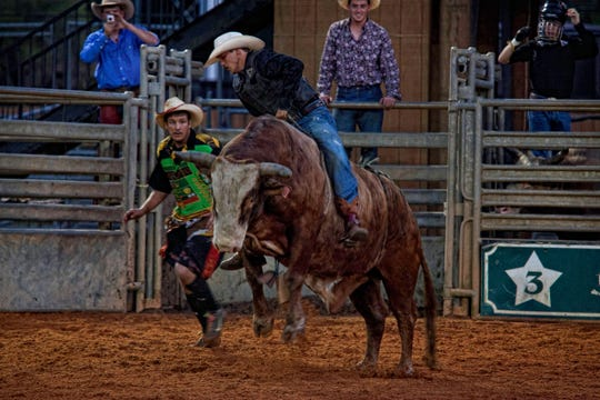 The rodeo features bull riding, barrel racing and trick riding.