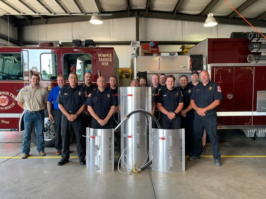 Chris Schiefer, president of Chris Schiefer Insurance, recently donated a grain bin rescue tube and grain vacuum to the Jefferson Township Fire Department.