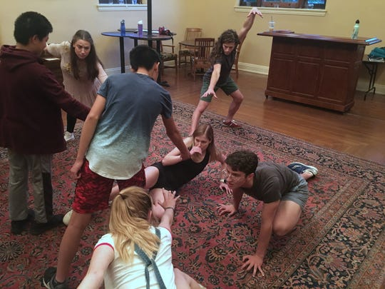 "A rehearsal for ""All In Your Head,"" created by the members of American Legacy Theatre's summer program for high school and college students. The play runs Aug. 2-4."