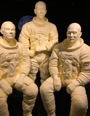 Full-scale models of the entire Apollo 11 crew, Neil Armstrong, Michael Collins and Buzz Aldrin, are sculpted in butter at the Ohio State Fair.