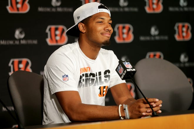 Cincinnati Bengals wide receiver Tyler Boyd (83) signed a four-year, $43 million extension with the Bengals that runs through the 2023 season, Tuesday, July 23, 2019, at Paul Brown Stadium in Cincinnati.