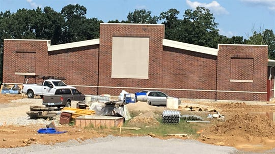 Bishop Brossart High School's Mustang Athletic Complex, Alexandria KY, July 23, 2019. The building that will house locker rooms and concession stands.