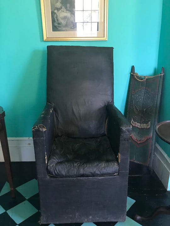 Home to the Jersey BlueChapter of the Daughters of the American Revolution (DAR), the 280-year-old Buccleuch Mansion recently reopenedits doorsafter a revolutionaryrenovation. Closed since 2017, the Mansion underwent an exterior and interior restoration, celebrating the re-opening on July 4. Pictured is the black leather chair that George Washing may have sat in.