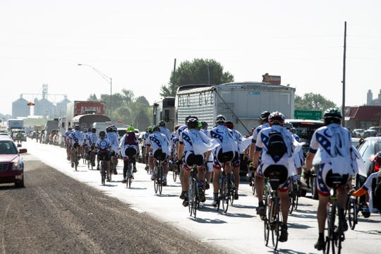 Former professional cyclist Davis Phinney rolls out onto day 3 of RAGBRAI to Indianola on Tuesday, July 23, 2019. Phinney was diagnosed with Parkinson's disease in 1999 and started the Davis Phinney Foundation in 2004.