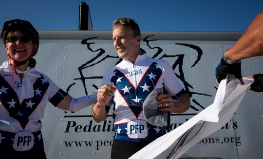 Former professional cyclist Davis Phinney gets ready to ride day 3 of RAGBRAI to Indianola on Tuesday, July 23, 2019. Phinney was diagnosed with Parkinson's disease in 1999 and started the Davis Phinney Foundation in 2004.