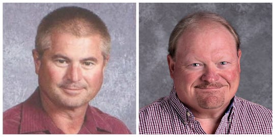 Mark L. Anderson, left, and Kenneth O. Anderson Jr. shown in work headshots taken in 2013 and 2018, respectively. The men died in a Davenport swimming pool Monday, July 22, 2019.