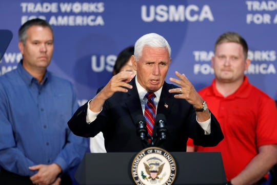 Vice President Mike Pence speaks during a visit to the Accumold Corp. plant, Tuesday, July 23, 2019, in Ankeny, Iowa.