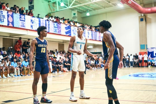 NORTH AUGUSTA, SC. July 12, 2019. Josh Christopher and Scottie Barnes at Nike Peach Jam in North Augusta, SC.  NOTE TO USER: Mandatory Copyright Notice: Photo by Alex Woodhouse / Jon Lopez Creative / Nike