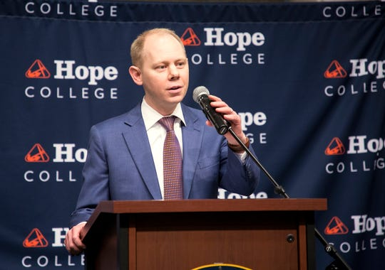 Hope College President Matthew Scogin speaks following his announcement in December as the new leader of the West Michigan school.