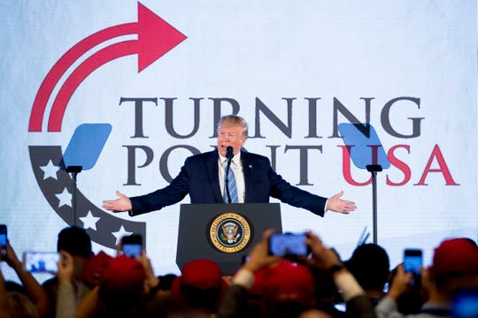 President Donald Trump speaks at Turning Point USA Teen Student Action Summit at the Marriott Marquis in Washington, Tuesday, July 23, 2019.