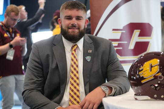 Central Michigan offensive lineman Steve Eipper talks with reporters during MAC media day at Ford Field on Tuesday, July 23, 2019.