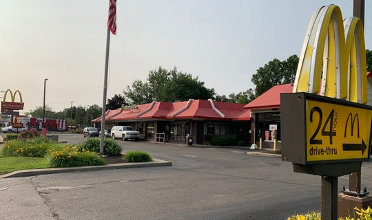 On Grand River Ave and West Grand River, this Pizza Hut was torn down for a McDonald's. Captured on July 8.