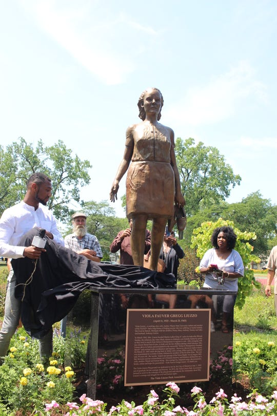 A sculpture of civil rights figure Viola Liuzzo was unveiled in the Northwest Detroit park baring her name on Tuesday