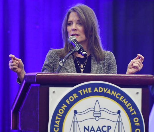Presidential candidate Marianne Williamson speaks during the 110th NAACP Convention at Cobo Center, in Detroit, Michigan on July 23, 2019.