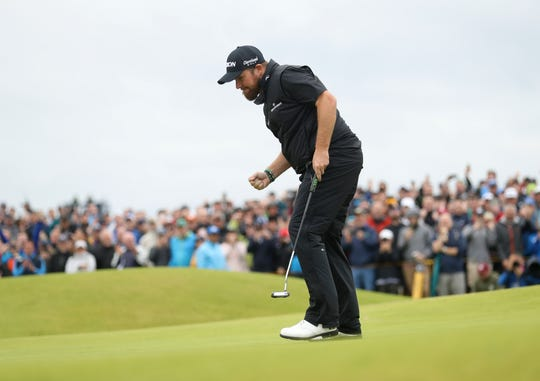 Shane Lowry reacts after making a birdie on the 15th green during the final round of the British Open this past weekend.