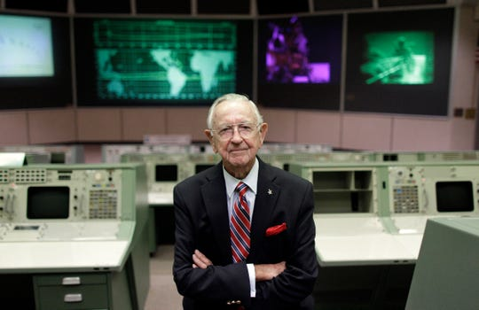 NASA Mission Control founder Chris Kraft in the old Mission Control at Johnson Space Center in Houston on July 5, 2011.