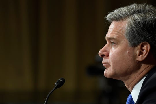FBI Director Christopher Wray testifies before the Senate Judiciary Committee.