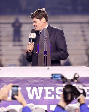 Mountain West commissioner Craig Thompson speaks during the trophy presentation after the 2017 conference championship football game at Boise State. Thompson said Tuesday that he expects MW schools to make significantly more revenue from their new media rights package than they are from the existing one but nowhere near the kind of money schools in Power 5 conferences are receiving from their deals.