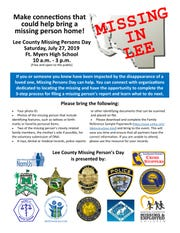 Missing Persons Day will be held from 10 a.m. to 3 p.m. on Saturday, July 27, at the Fort Myers High School.