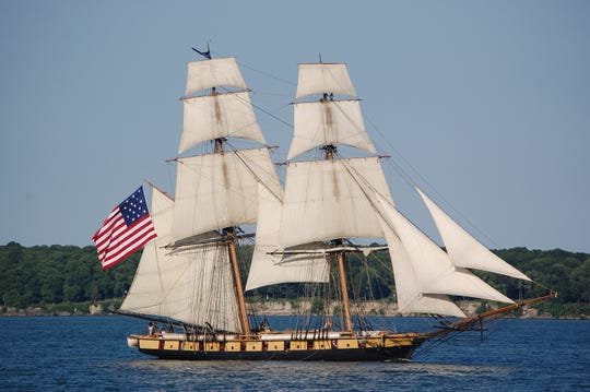 The U.S. Brig Niagara, a replica of the two-masted relief flagship of Commodore Oliver Hazard Perry, is one of the tall ships expected off Crescent Beach in Algoma on Tuesday to take part in the Great Lakes Challenge sailing race to Kenosha.