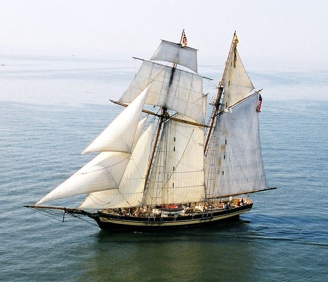 Pride of Baltimore II is one of the tall ships expected off Crescent Beach in Algoma on Tuesday to take part in the Great Lakes Challenge sailing race to Kenosha.