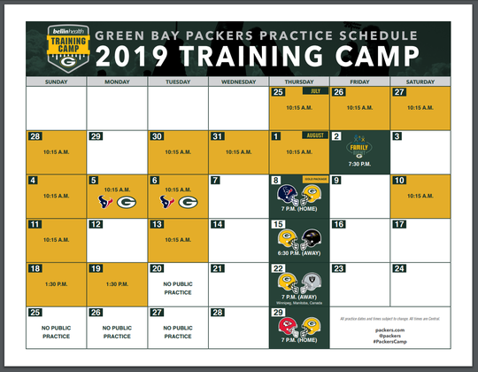 Green Bay Packers 2019 training camp schedule