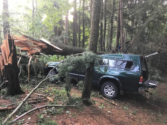 A second pickup along Oralea Lane in the town of Townsend that damaged when a tree broke off during the July 19 storm.