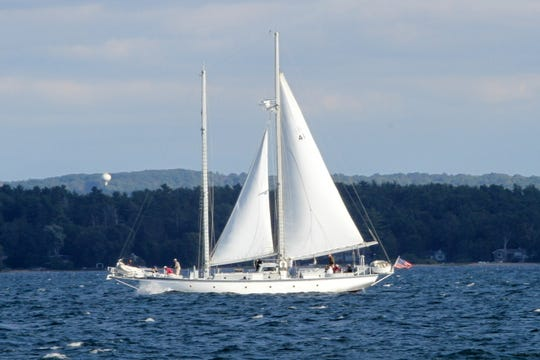 The Utopia is a 77-foot schooner built by Peterson Builders Inc. in Sturgeon Bay in 1946. Now operated by the Inland Seas Education Association, Utopia is expected to appear off Crescent Beach in Algoma on Tuesday as part of the start of the Great Lakes Challenge sailing race to Kenosha.