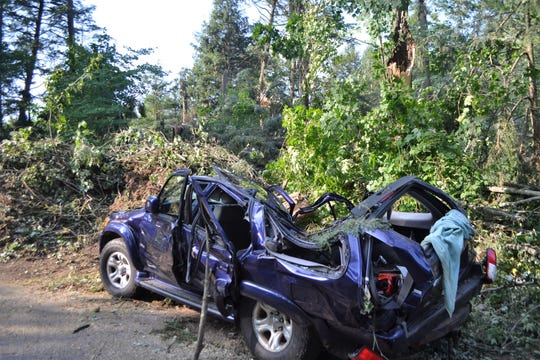 This vehicle was demolished by a tree during the storm on July 19. The car was among five owned by people at  a large family gathering on Oralea Lane in the town of Townsend in Oconto County.