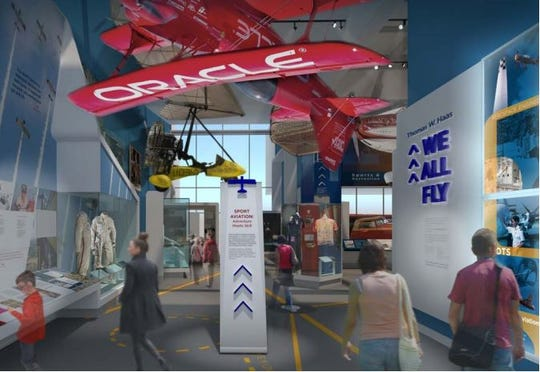 A rendering of the We All Fly exhibit at the Smithsonian Air and Space Museum. Aerobatic pilot Sean D. Tucker's Oracle Challenger III aircraft will become a centerpiece of the exhibit.
