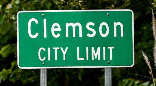 Clemson city limit at the Pickens and Oconee County line.