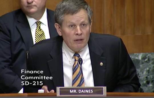 U.S. Sen. Steve Daines talks about elder abuse Tuesday during a Senate Finance Committee hearing.